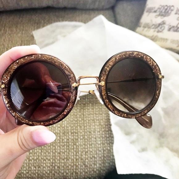 9f5e00677d MIU MIU DEADSTOCK Round Glitter Sunglasses. M 5b17138003087cc2d9bae86f.  Other Accessories ...